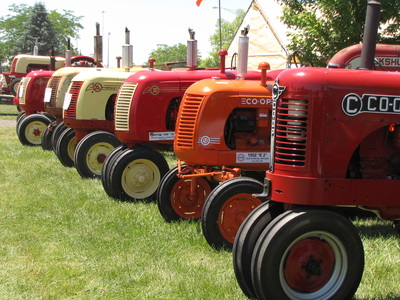 6 Cockshutt Tractors In Row