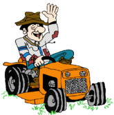 Photo of Orange Tractor Mower Man