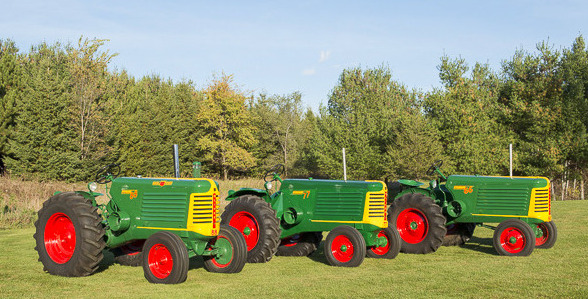 3 Oliver Tractors In Row