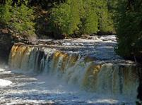 The Porcupine Mountains' Manabezho Falls and Manido Falls, also on Presque Isle River are the Yondata Falls